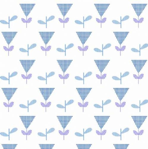 Makower - Floral Splendour - Main, Blue Flower Cotton Fabric (8378B)